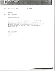 Thumbnail of Memorandum from Mark H. McCormack to Ian Todd