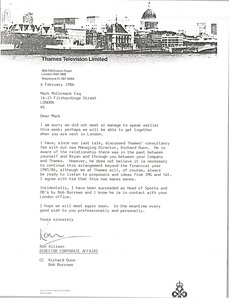 Thumbnail of Letter from Ron Allison to Mark H. McCormack