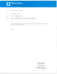 Thumbnail of Memorandum from Laurie Roggenburk to Vicky Richard