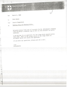 Thumbnail of Memorandum from Laurie Roggenburk to Evon Banks