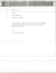 Thumbnail of Memorandum from Laurie Roggenburk to Judy Stott