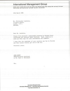 Thumbnail of Letter from Judy Stott to Christopher Lewinton