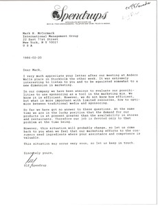 Thumbnail of Letter from Ulf Spendrup to Mark H. McCormack