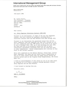 Thumbnail of Letter from Mark H. McCormack to Lynton Taylor