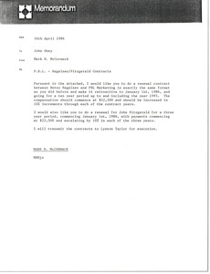 Thumbnail of Memorandum from Mark H. McCormack to John Oney