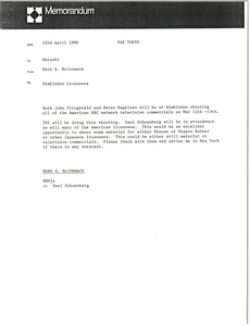 Thumbnail of Memorandum from Mark H. McCormack to Matsuki