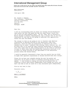 Thumbnail of Letter from Mark H. McCormack to Joseph A. Campana
