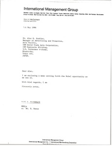Thumbnail of Letter from Mark H. McCormack to Alec R. Stables