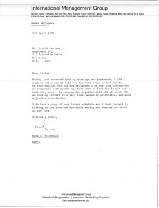 Thumbnail of Letter from Mark H. McCormack to Itzhak Perlman