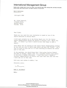Thumbnail of Letter from Mark H. McCormack to Clyde Comstock