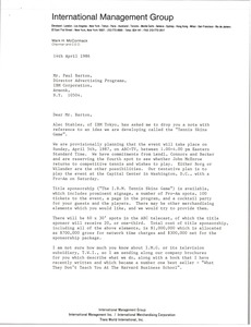 Thumbnail of Letter from Mark H. McCormack to Paul Barton