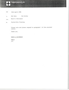 Thumbnail of Memorandum from Mark H. McCormack to Bob Kain and Jim Curley
