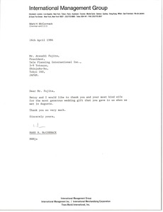 Thumbnail of Letter from Mark H. McCormack to Atsushi Fujita