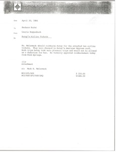 Thumbnail of Memorandum from Laurie Roggenburk to Barbara Kernc