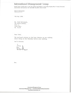Thumbnail of Letter from Mark H. McCormack to Todd McCormack