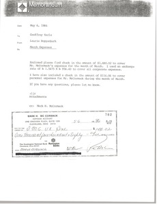 Thumbnail of Memorandum from Laurie Roggenburk to Geoffrey Earle