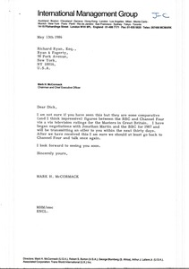 Thumbnail of Letter from Mark H. McCormack to Richard Ryan