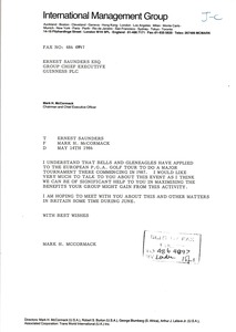 Thumbnail of Letter from Mark H. McCormack to Ernest Saunders
