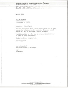 Thumbnail of Letter from Laurie Roggenburk to British Airways