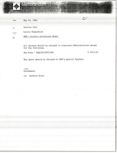 Thumbnail of Memorandum from Laurie Roggenburk to Desiree Paul