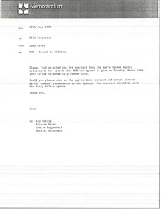 Thumbnail of Memorandum from Judy Stott to Bill Carpenter