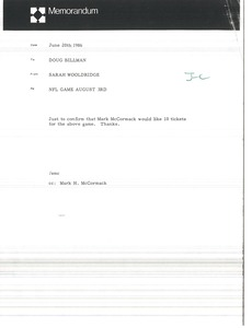 Thumbnail of Memorandum from Sarah Wooldridge to Doug Billman