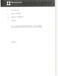 Thumbnail of Memorandum from Mark H. McCormack to John Webber