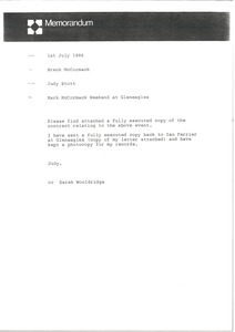 Thumbnail of Memorandum from Judy Stott to Breck McCormack