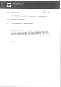 Thumbnail of Memorandum from Mark H. McCormack to Ian Wooldridge