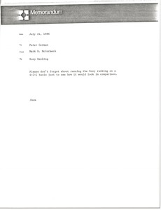 Thumbnail of Memorandum from Mark H. McCormack to Peter German