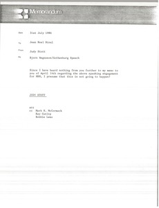 Thumbnail of Memorandum from Judy Stott to Jean Noel Bioul
