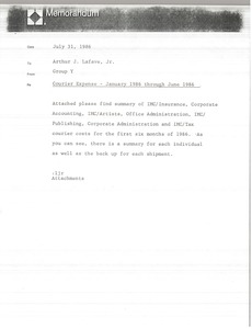 Thumbnail of Memorandum from Group Y to Arthur J. Lafave