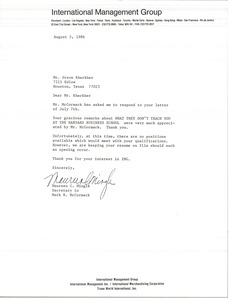 Thumbnail of Letter from Maureen C. Mingle to Steve Kherkher