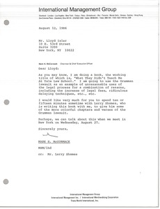 Thumbnail of Letter from Mark H. McCormack to Lloyd Isler