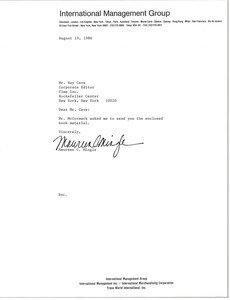 Thumbnail of Letter from Maureen C. Mingle to Ray Cave