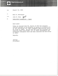 Thumbnail of Memorandum from John S. Oney to Mark H. McCormack