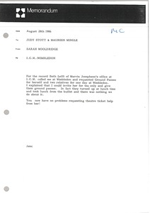Thumbnail of Memorandum from Sarah Wooldridge to Judy Stott and Maureen Mingle