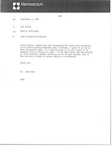 Thumbnail of Memorandum from Mark H. McCormack to Jim Curley