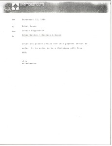 Thumbnail of Memorandum from Laurie Roggenburk to Bobbi Lemmo
