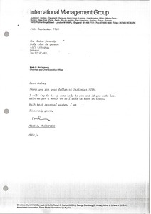 Thumbnail of Letter from Mark H. McCormack to Andre Girard