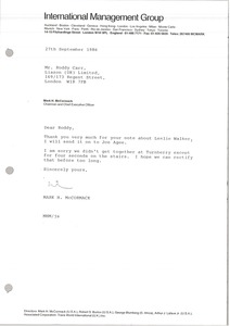 Thumbnail of Letter from Mark H. McCormack to Roddy Carr