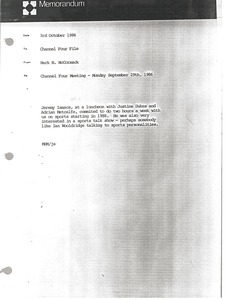 Thumbnail of Memorandum from Mark H. McCormack to Channel Four File