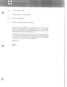 Thumbnail of Memorandum from Mark H. McCormack to Angela Miller and Tim Chadwick
