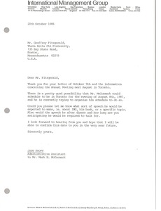 Thumbnail of Letter from Judy Stott to Geoffrey Fitzgerald