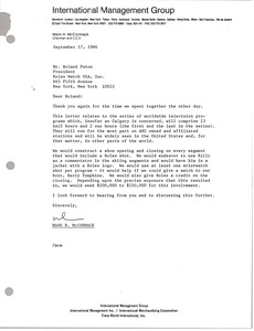 Thumbnail of Letter from Mark H. McCormack to Roland Puton