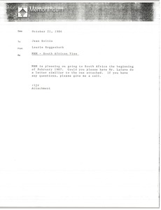 Thumbnail of Memorandum from Laurie Roggenburk to Jean Soltin