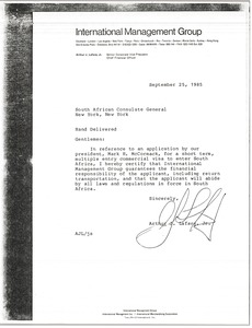 Thumbnail of Letter from Arthur J. Lafave to South African Consulate General