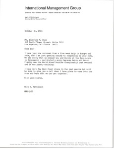 Thumbnail of Letter from Mark H. McCormack to Lodwrick M. Cook
