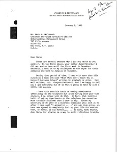 Thumbnail of Letter from Charles R. Bronfman to Mark H. McCormack