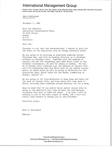 Thumbnail of Letter from Mark H. McCormack to Pat Wheatley